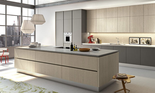 Contemporary kitchen / in wood / lacquered